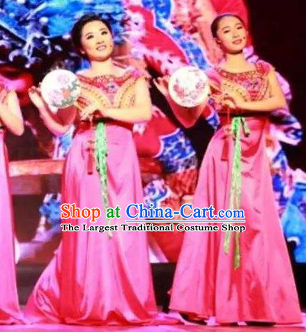 Chinese Pear Flowers Song Classical Dance Rosy Dress Traditional Dance Stage Performance Costume for Women
