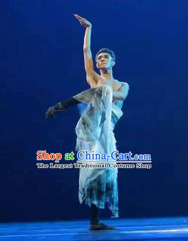 Chinese Traditional Dance Shuimo Gu He Clothing Classical Dance Stage Performance Costume for Men