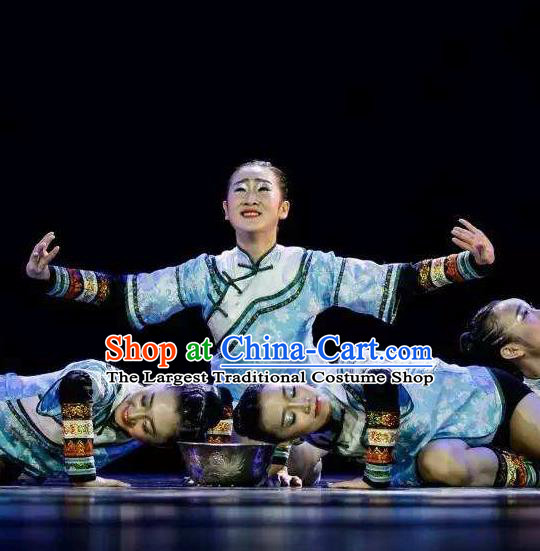 Chinese Fishermen Song Classical Dance Blue Dress Traditional Dance Stage Performance Costume for Women