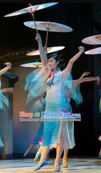 Chinese Yan Yu Xing Zhou Classical Dance Blue Dress Traditional Umbrella Dance Stage Performance Costume for Women