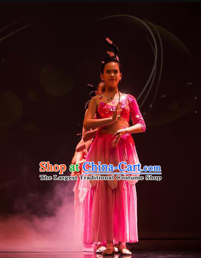 Chinese Ji Yue Tian Dance Pink Dress Traditional Classical Dance Stage Performance Costume for Women