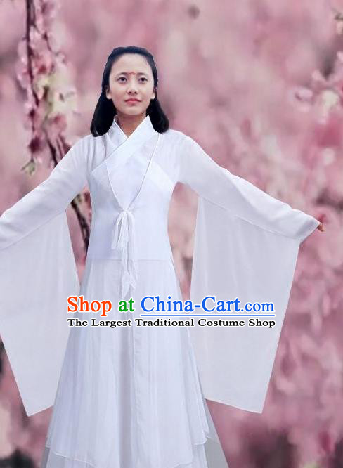 Chinese Liang Liang Dance White Hanfu Dress Traditional Classical Dance Stage Performance Costume for Women