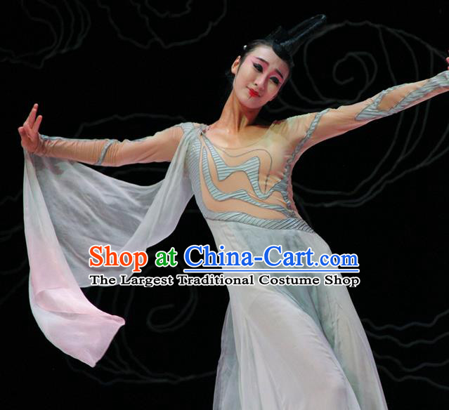 Chinese Fen Mo Stage Performance Dance Light Blue Dress Traditional Classical Dance Costume for Women