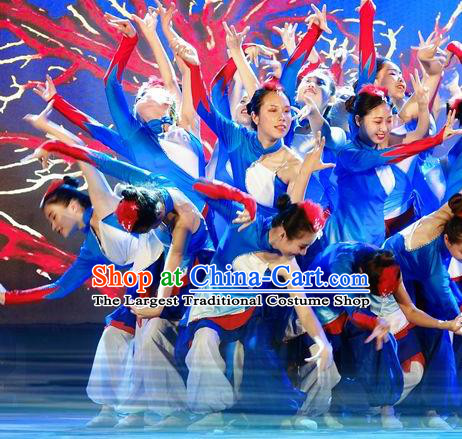 Chinese Stage Performance Red Coral Folk Dance Blue Dress Traditional Fan Dance Costume for Women