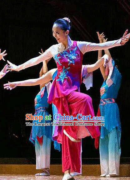 Red Coral Chinese Stage Performance Folk Dance Rosy Dress Traditional Fan Dance Costume for Women