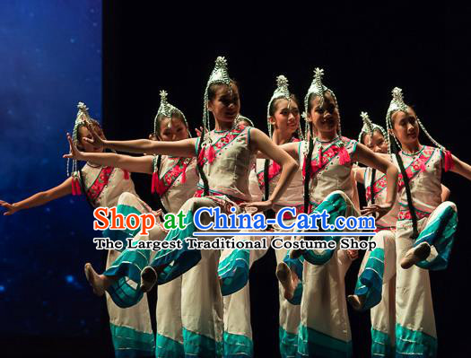 Ta Yun Cai Chinese Yi Nationality Dance Stage Performance Dress Traditional Folk Dance Costume for Women