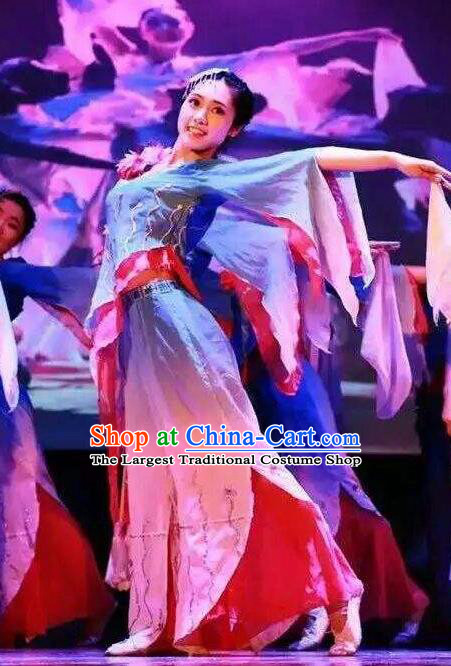 Misty Memories Chinese Classical Dance Stage Show Dress Traditional Folk Dance Costume for Women