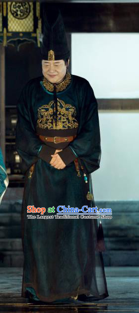 Chinese Ancient Court Eunuch Drama Qing Yu Nian Joy of Life Replica Costume and Hat Complete Set