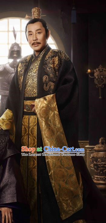Chinese Ancient Emperor of Qing Drama Qing Yu Nian Joy of Life Chen Daoming Replica Costume and Headpiece Complete Set
