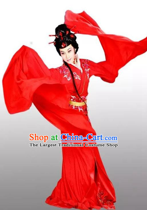 Chinese Shaoxing Opera Hua Tan Red Costumes and Headdress Hedda or Aspiration Sky High Yue Opera Huadan Dress Garment Actress Apparels