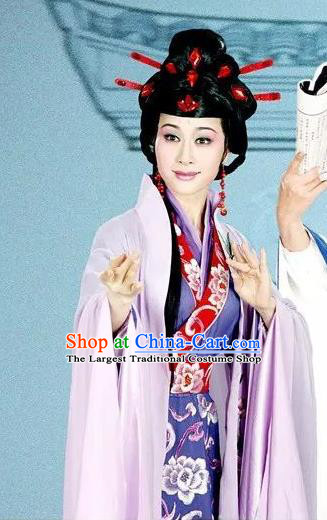 Chinese Shaoxing Opera Hua Tan Purple Dress Costumes Actress Apparels and Headpieces Hedda or Aspiration Sky High Yue Opera Young Female Garment