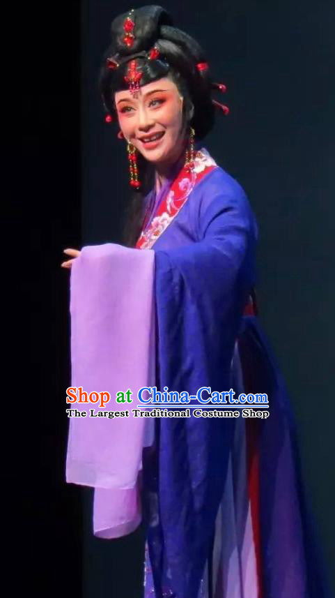 Chinese Shaoxing Opera Noble Dame Blue Dress Costumes Apparels and Headpieces Hedda or Aspiration Sky High Yue Opera Elderly Female Garment