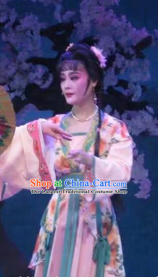 Chinese Shaoxing Opera Xiaodan Dress Costumes and Headpieces Li Hua Qing Yue Opera Servant Girl Garment Apparels