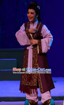 Chinese Shaoxing Opera Elderly Woman Garment Costumes and Headpieces Li Hua Qing Yue Opera Dame Apparels Dress