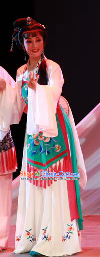 Chinese Shaoxing Opera Country Female Garment Costumes and Headpieces Li Hua Qing Yue Opera Hua Tan Apparels Civilian Lady Dress