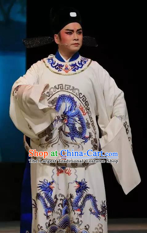 He Wenxiu Chinese Yue Opera Xiaosheng Young Male Garment and Headwear Shaoxing Opera Scholar Apparels Official Embroidered Robe Costumes