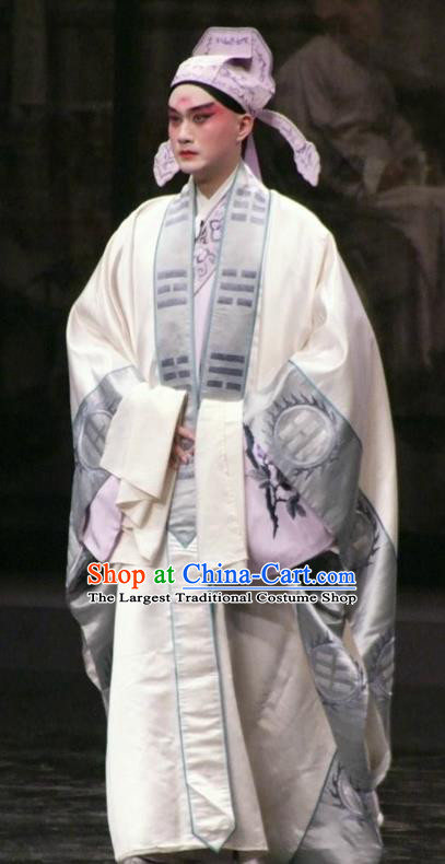 Chinese Kun Opera Scholar Xiao Sheng Apparels The Peach Blossom Fan Peking Opera Garment Niche Hou Chaozong Costumes and Hat