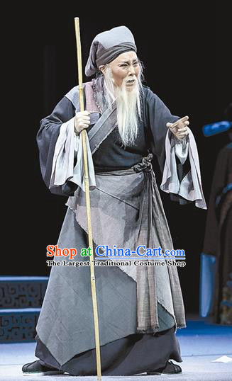 Chinese Yue Opera Poor Old Man Apparels and Headwear Breeze Pavilion Shaoxing Opera Elderly Male Zhang Yuanxiu Garment Costumes