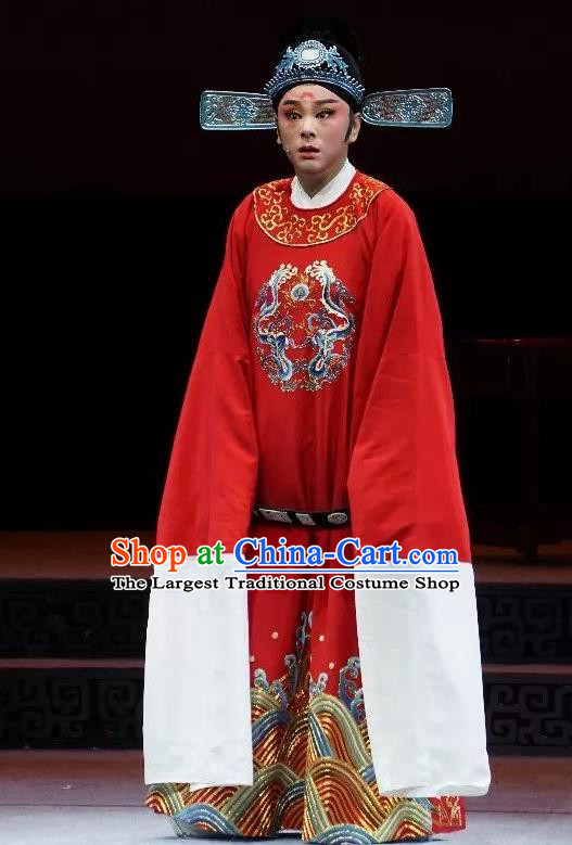 Chinese Yue Opera Number One Scholar Apparels and Headwear Breeze Pavilion Shaoxing Opera Xiaosheng Young Male Garment Costumes Zhang Jibao Official Robe
