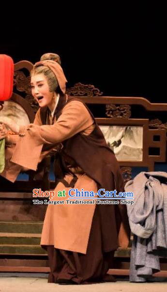 Chinese Shaoxing Opera Laodan Apparels and Headpiece A Song of The Travelling Son Yue Opera Dress Elderly Mother Costumes Garment