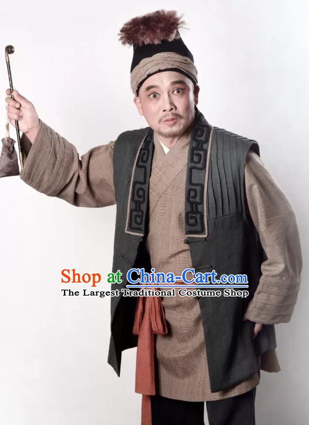 A Song of The Travelling Son Chinese Yue Opera Male Role Apparels and Headwear Shaoxing Opera Civilian Man Garment Costumes