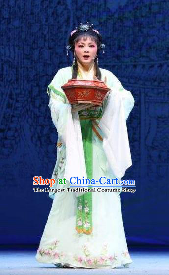 Chinese Shaoxing Opera Hua Tan Green Dress Costumes and Headpieces Palm Civet for Prince Yue Opera Actress Court Maid Kou Zhu Apparels Garment