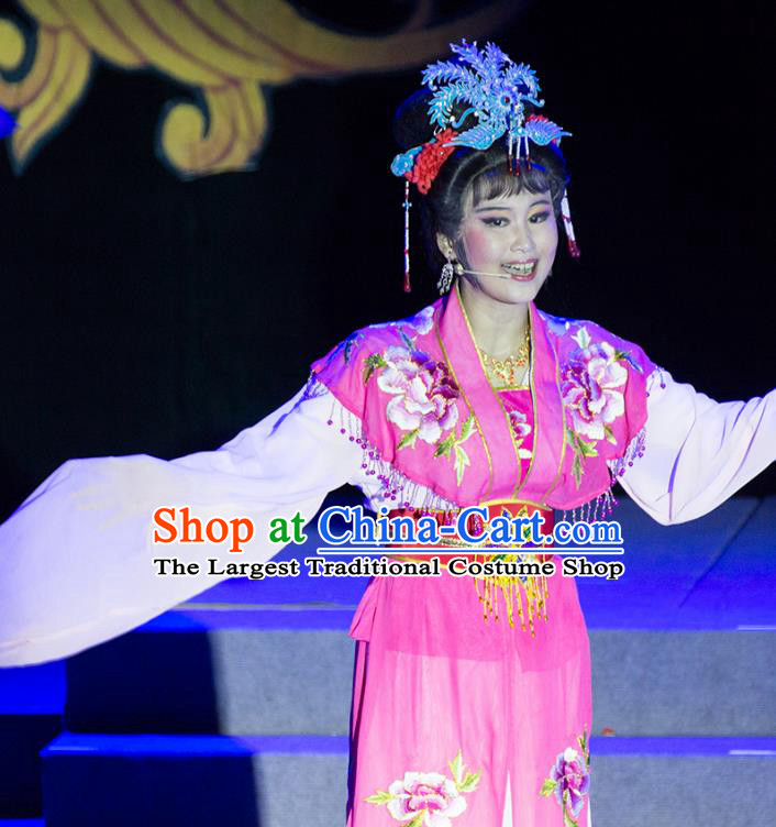 Chinese Shaoxing Opera Hua Tan Liu E Rosy Dress Garment Costumes and Headpieces Palm Civet for Prince Yue Opera Actress Imperial Consort Apparels