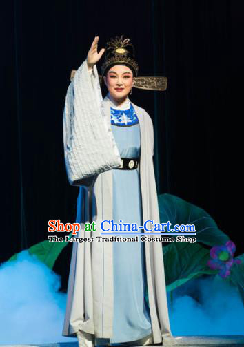Chinese Yue Opera Xiaosheng Prefecture Liu Chong Costumes and Headwear The Magnificent Mayor Shaoxing Opera Young Male Garment Apparels