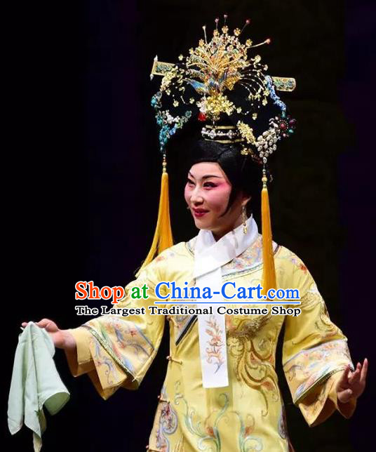 Chinese Shaoxing Opera Hua Tan Dress Costumes and Headdress Emperor Guangxu Opera Young Female Imperial Consort Garment Apparels