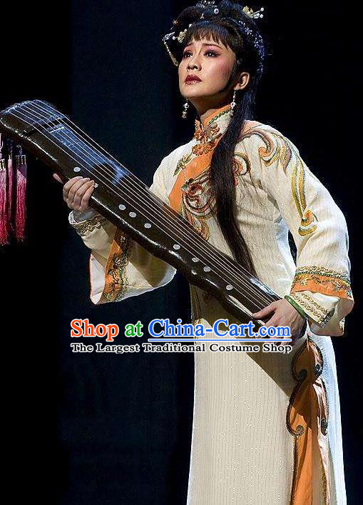Chinese Shaoxing Opera Actress Qing Dynasty Dress Costumes and Headpieces Eternal Love Yue Opera Hua Tan Apparels Chang Mingying Garment