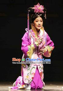 Chinese Shaoxing Opera Actress Hua Tan Purple Dress Costumes and Headdress Eternal Love Yue Opera Qing Dynasty Imperial Consort Apparels Garment