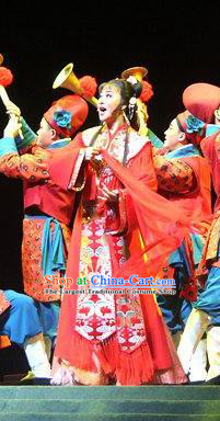 Chinese Shaoxing Opera Hua Tan Red Dress Costumes and Headdress A Song of The Travelling Son Yue Opera Actress Wedding Apparels Bride Garment