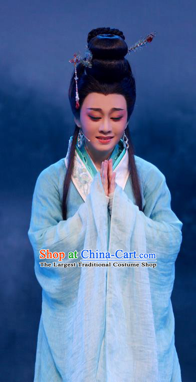 King Wu Yue Chinese Shaoxing Opera Actress Blue Dress Garment and Headpieces Yue Opera Hua Tan Imperial Consort Apparels Costumes