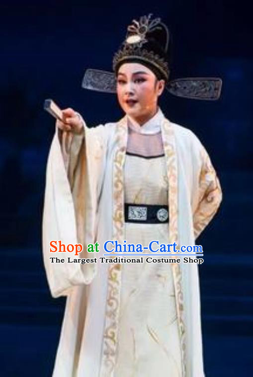 Chinese Yue Opera Young Male Scholar Costumes and Hat The Magnificent Mayor Shaoxing Opera Xiaosheng Liu Chong Garment Apparels