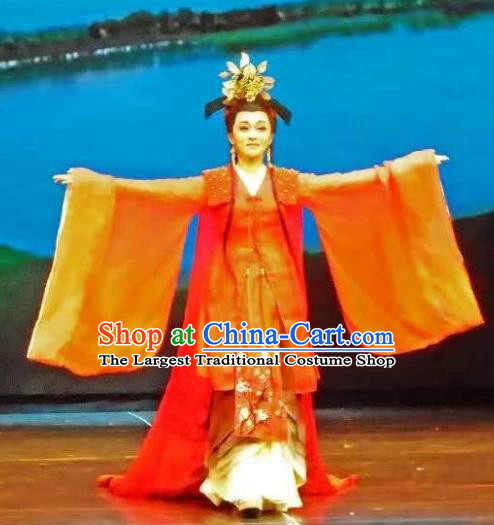 King Wu Yue Chinese Shaoxing Opera Imperial Consort Actress Dress Garment and Headpieces Yue Opera Hua Tan Apparels Costumes