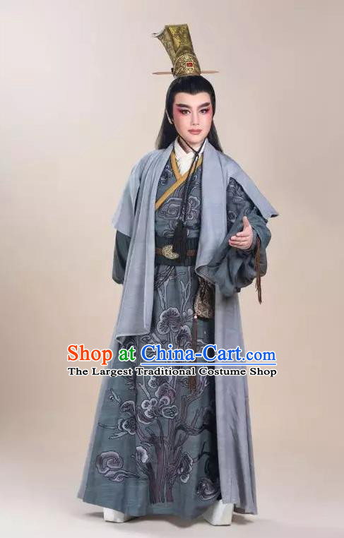 Chinese Yue Opera Xiaosheng Costumes and Headwear Shaoxing Opera King Wu Yue Young Male Apparels Prince Garment