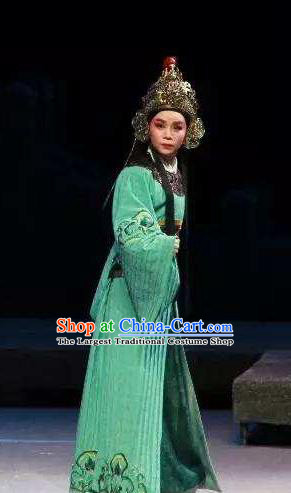 Chinese Yue Opera Wusheng Green Costumes and Headwear The Magnificent Mayor Shaoxing Opera Young Male Garment Swordsman Apparels
