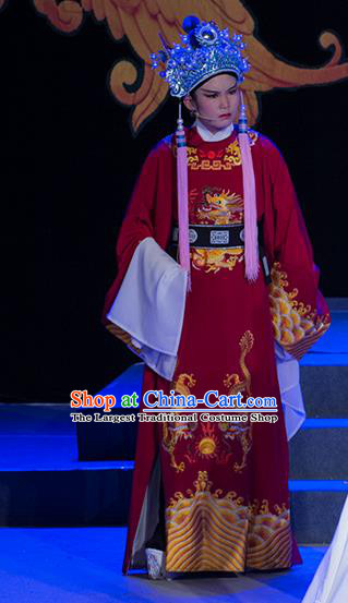Palm Civet for Prince Chinese Yue Opera Man Role Apparels Costumes and Headwear Shaoxing Opera Garment Court Eunuch Guo Huai Official Robe
