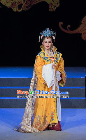 Chinese Shaoxing Opera Empress Liu E Yellow Dress Costumes and Headpieces Palm Civet for Prince Yue Opera Actress Queen Mother Garment Apparels