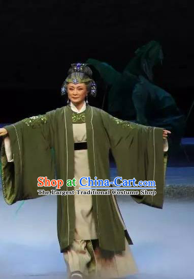 Chinese Shaoxing Opera Laodan Old Dame Dress and Headdress The Magnificent Mayor Yue Opera Elderly Female Apparels Garment Costumes