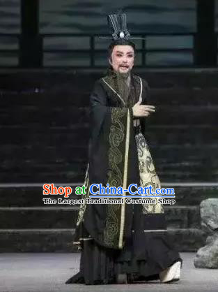 Chinese Yue Opera Official Black Garment Costumes and Headwear Qu Yuan Shaoxing Opera Poet Apparels