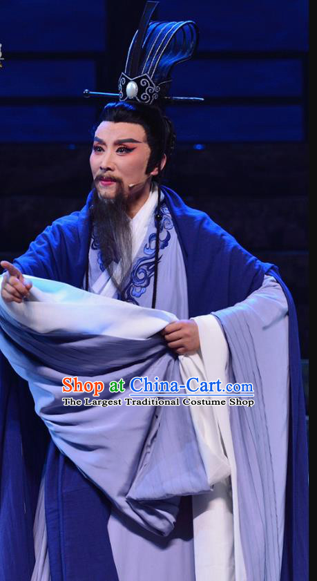 Chinese Yue Opera Middle Age Male Apparels Costumes and Headwear Qu Yuan Shaoxing Opera Laosheng Poet Garment