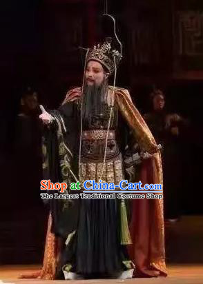 Chinese Yue Opera Elderly Male Costumes and Headwear Qu Yuan Shaoxing Opera Laosheng Apparels General Armor Garment