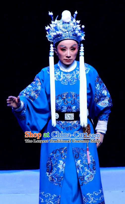 Chinese Yue Opera Wusheng Costumes and Headwear Shaoxing Opera Palm Civet for Prince Court Eunuch Chen Lin Apparels Garment