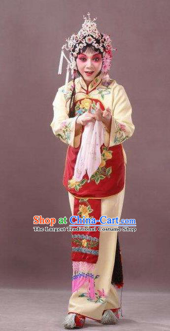 Chinese Peking Opera Young Female Sun Yujiao Costumes Apparels and Headdress Pick Up the Jade Bracelet Yue Opera Hua Tan Dress Garment