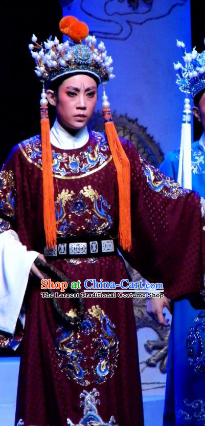 Chinese Yue Opera Palm Civet for Prince Costumes and Headwear Shaoxing Opera Wusheng Court Eunuch Chen Lin Apparels Garment Red Embroidered Robe