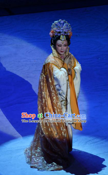 Chinese Shaoxing Opera Noble Queen Garment Costumes and Headdress Palm Civet for Prince Yue Opera Hua Tan Empress Dress Apparels