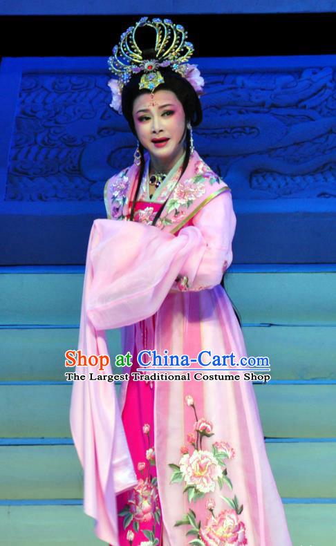 Chinese Shaoxing Opera Palace Lady Pink Garment Apparels and Headdress Palm Civet for Prince Yue Opera Hua Tan Queen Dress Costumes