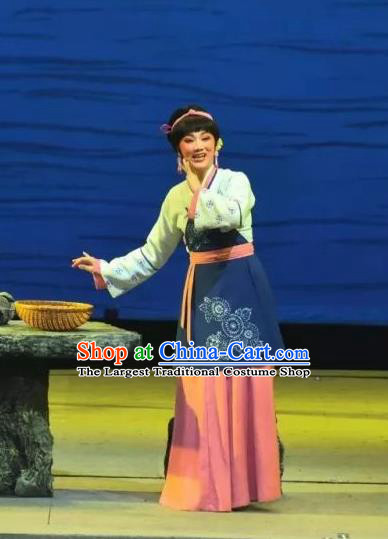 Chinese Shaoxing Opera Village Girl Dress Costumes and Headpieces A Song of The Travelling Son Yue Opera Actress Country Woman Apparels Garment