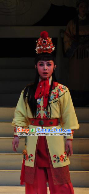 Chinese Yue Opera Young Male Garment Palm Civet for Prince Costumes and Headwear Shaoxing Opera Wa Wa Sheng Crown Prince Apparels